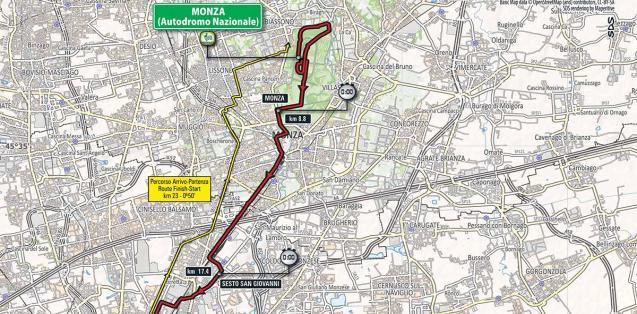 Planimetria tappa Monza Milano